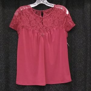 Express Burgundy Laced Top Flowy Blouse